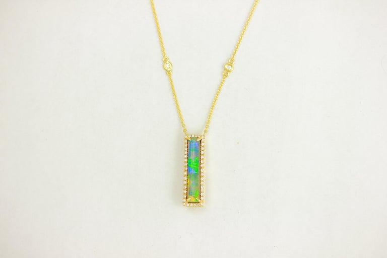 Cushion Cut Frederic Sage 2.60 Carat Australian Opal Diamond Pendant Chain Necklace For Sale