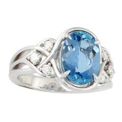 Frederic Sage 2.83 Carat Aquamarine and Diamond Cocktail Ring