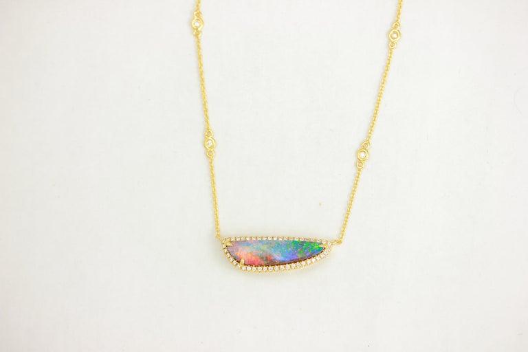 Contemporary Frederic Sage 3.14 C Australian Black Opal Diamond Pendant Chain Drop Necklace For Sale