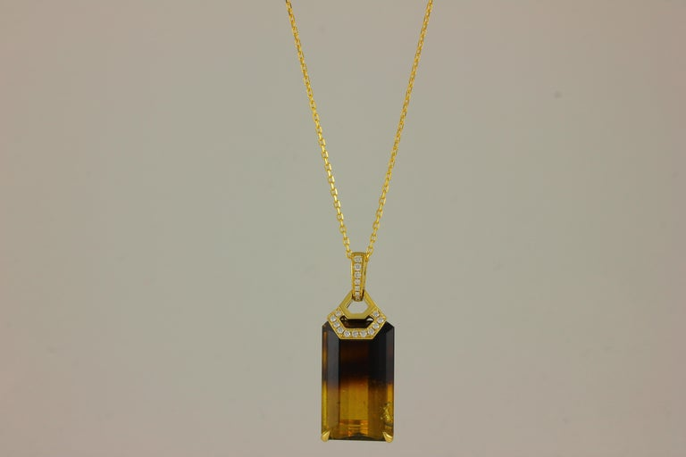 18K YG LARGE EC BICOLOR CANNERY TO MOCHA TOURMALINE AND DIAMOND ONE OF A KIND PENDANT/CHAIN  TUR 38.22 Carats 18 DIA 0.26 Carats