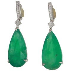 Frederic Sage 38.83 Carat Brazilian Emerald One of Kind Cocktail Drop Earrings