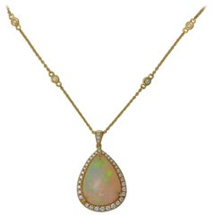 Frederic Sage 8.30 CTPear Shape Cab Opal One of Kind Pendant Necklace with chain