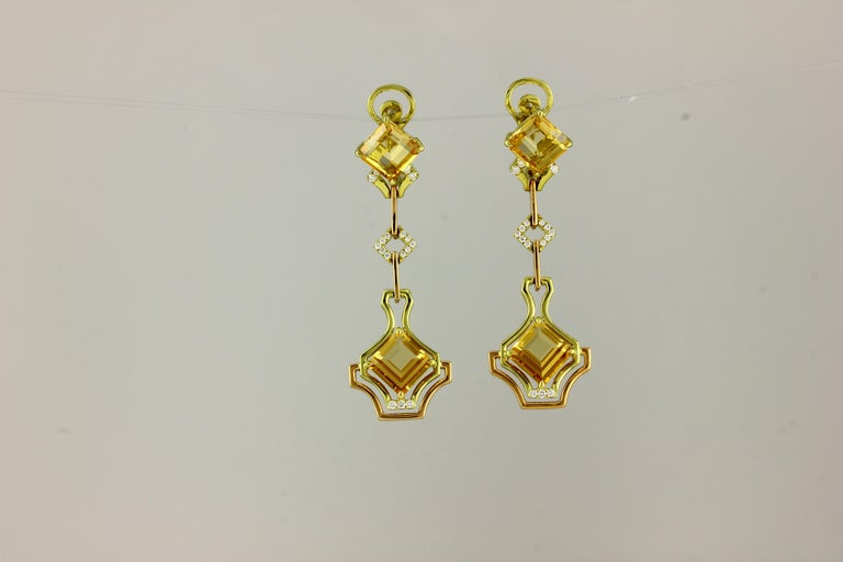 18K PYG DOUBLE PC IMPERIAL TOPAZ AND DIAMONDS OAK DANGLING EARRINGS 4 PC IMPT 8.99 Carats 34 DIA 0.27 Carats