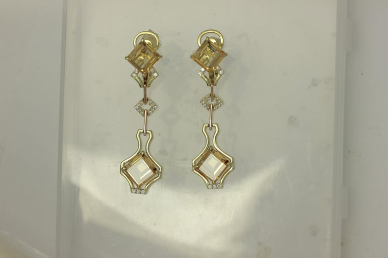 Contemporary Frederic Sage One of Kind 8.99 Carat Imperial Topaz and Diamond Earrings