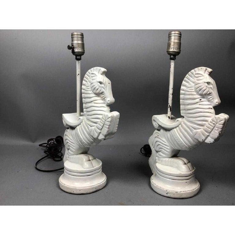 20th Century Frederic Weinberg Bucking Zebra Table Lamp Set, Midcentury, Signed For Sale