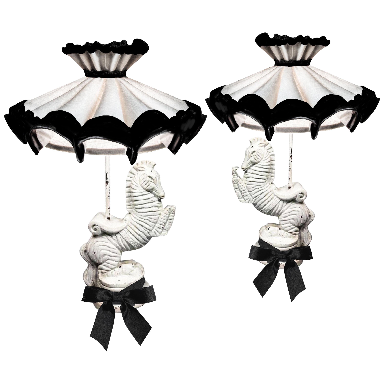 Frederic Weinberg Bucking Zebra Table Lamp Set, Midcentury, Signed