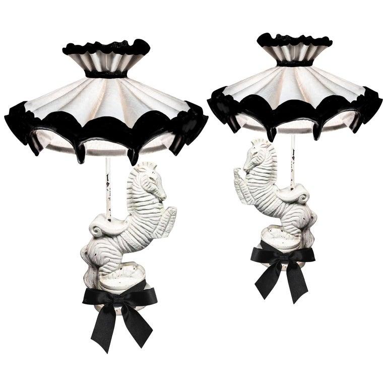Frederic Weinberg Bucking Zebra Table Lamp Set, Midcentury, Signed For Sale