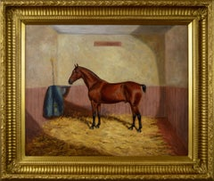 Late 19th Century oil painting of a horse in a stable