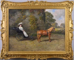 Oil painting of a lady with a horse & trap