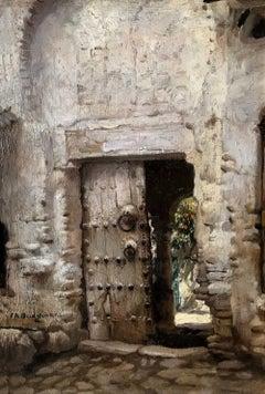 Ancient Doorway, American mid 19th Century Oil