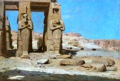 Memnonium - Thebes 1874 - 19th Century Orientalit Oil, Landscape by F A Bridgman