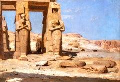 Thebes - Colossi of Memnon 1874 - 19th Century Orientalist Oil by F A Bridgman