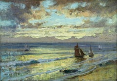 Sunset - 19th Century Oil, Boats at Sea at Evening Landscape by F A Bridgman