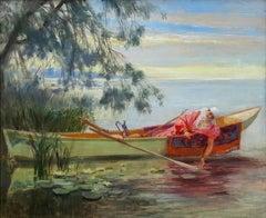 Sur le Bosphone, On the Bosphorus,  Orientalist Beautiful Girl in Boat
