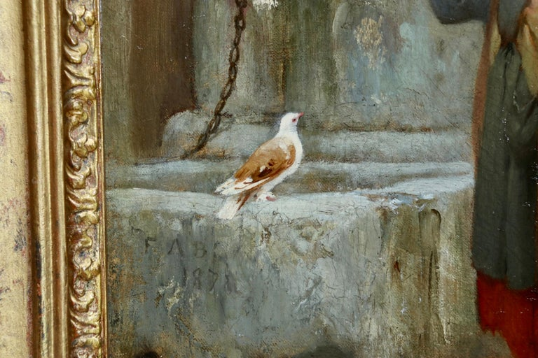 Woman by a well with doves - large signed oil by Frederick Arthur Bridgman For Sale 3
