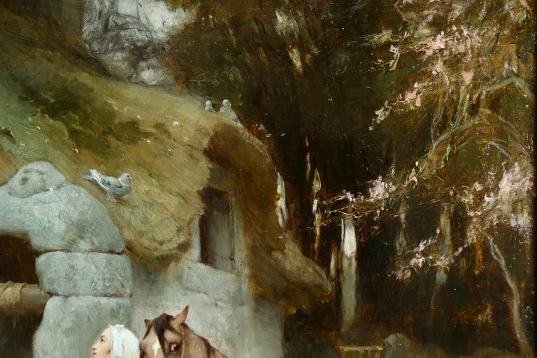 Woman by a well with doves - large signed oil by Frederick Arthur Bridgman For Sale 4