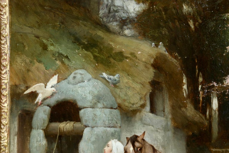 Woman by a well with doves - large signed oil by Frederick Arthur Bridgman For Sale 5