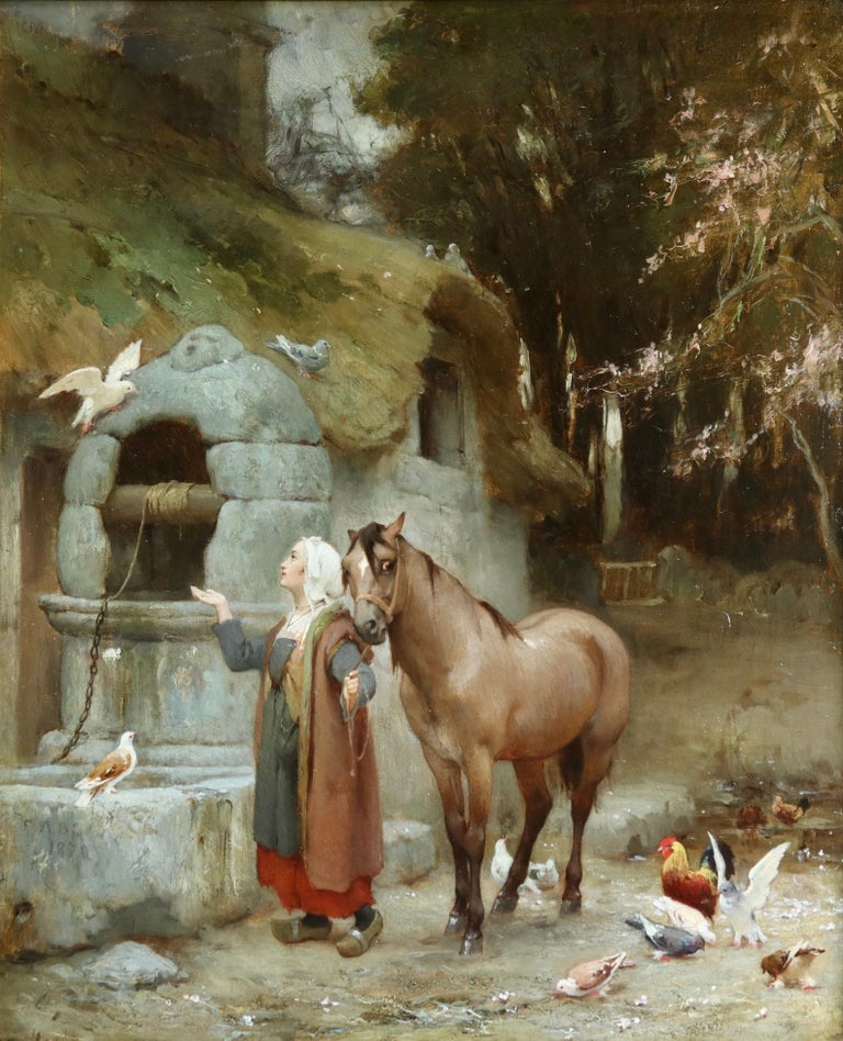 Woman by a well with doves - large signed oil by Frederick Arthur Bridgman For Sale 6