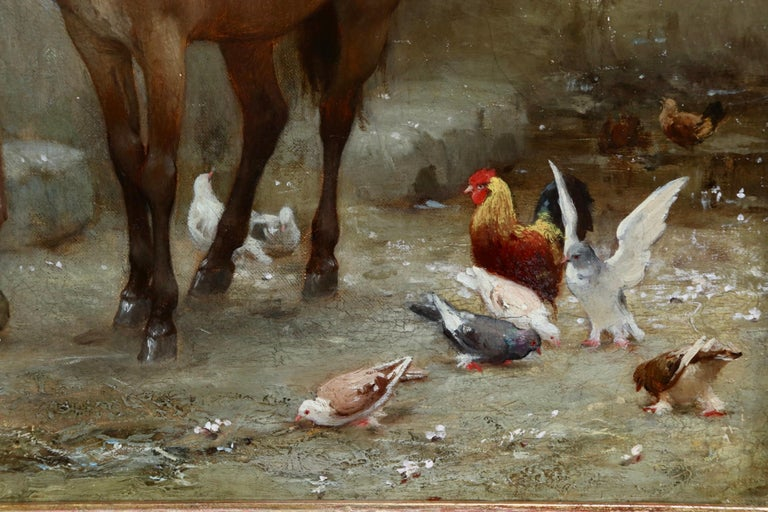 Woman by a well with doves - large signed oil by Frederick Arthur Bridgman For Sale 7