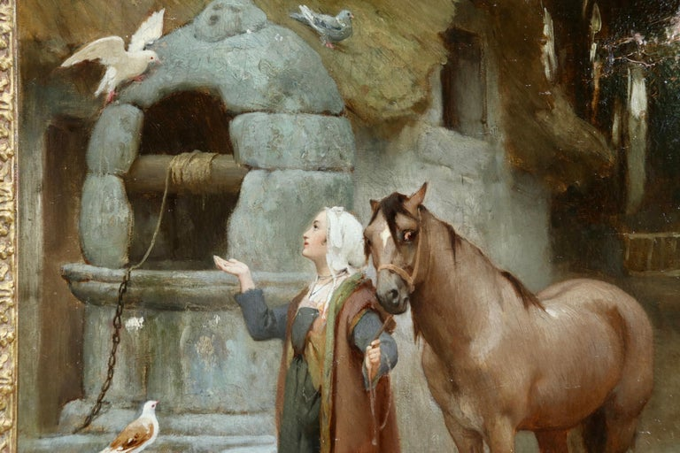 Woman by a well with doves - large signed oil by Frederick Arthur Bridgman For Sale 8