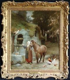 Woman by a well with doves - large signed oil by Frederick Arthur Bridgman