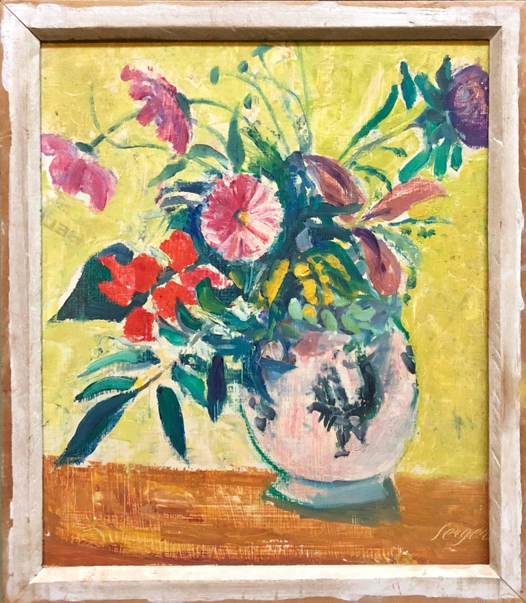 French Fauvist Floral Oil Painting - Beige Still-Life Painting by Frederick B. Serger