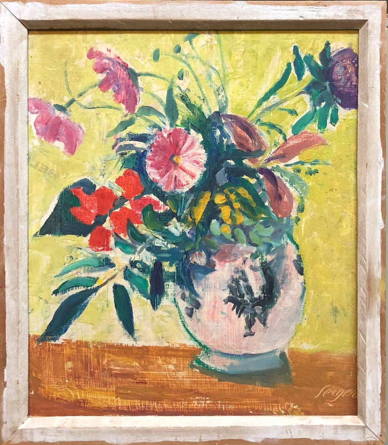 Frederick B. Serger Still-Life Painting - French Fauvist Floral Oil Painting