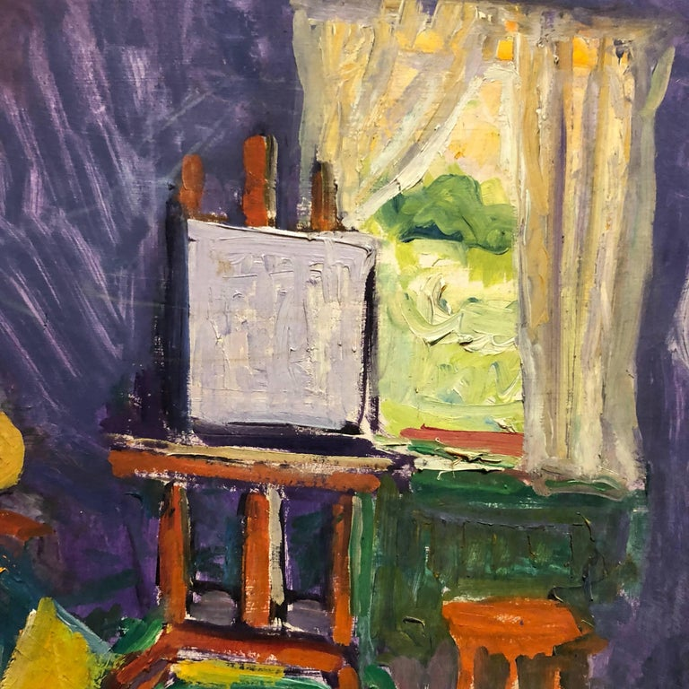 French Fauvist Girl in Studio Frederick Serger Oil Painting - Gray Still-Life Painting by Frederick B. Serger