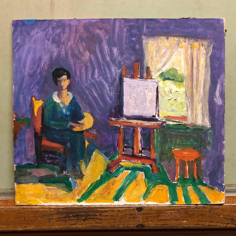 French Fauvist Girl in Studio Frederick Serger Oil Painting For Sale 2