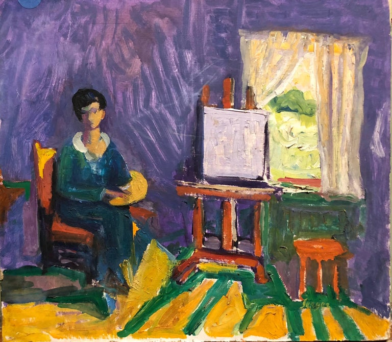 Frederick B. Serger Still-Life Painting - French Fauvist Girl in Studio Frederick Serger Oil Painting