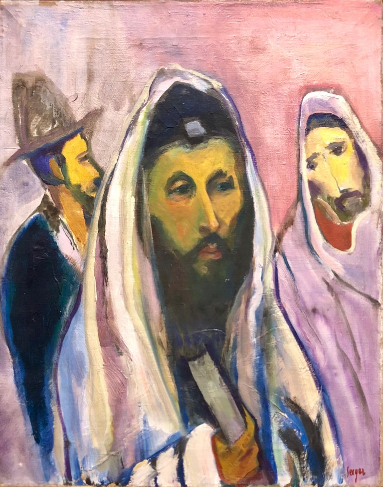 Polish French Fauvist Judaica Oil Painting Rabbi at Prayer - Beige Interior Painting by Frederick B. Serger