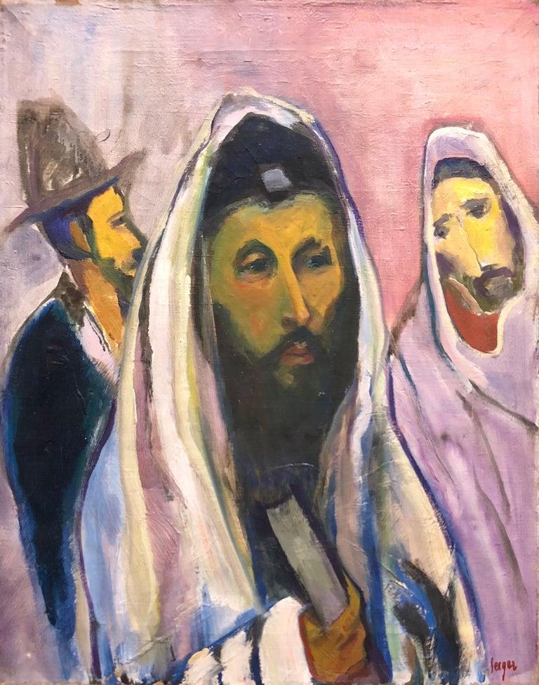 Frederick B. Serger Interior Painting - Polish French Fauvist Judaica Oil Painting Rabbi at Prayer
