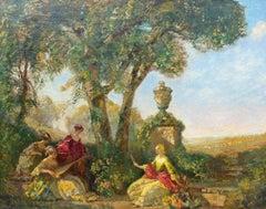 Large Antique Painting Summer Garden Scene by Frederick Ballard Williams
