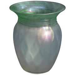 Frederick Carder Steuben Threaded Verre De Soie Art Glass Vase