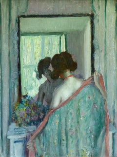 Reflections - Girl in a Mirror - American Impressionist Oil - Frederick Frieseke
