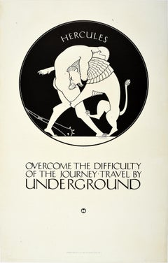 Original Vintage London Underground Poster Hercules Nemean Lion Greek Mythology