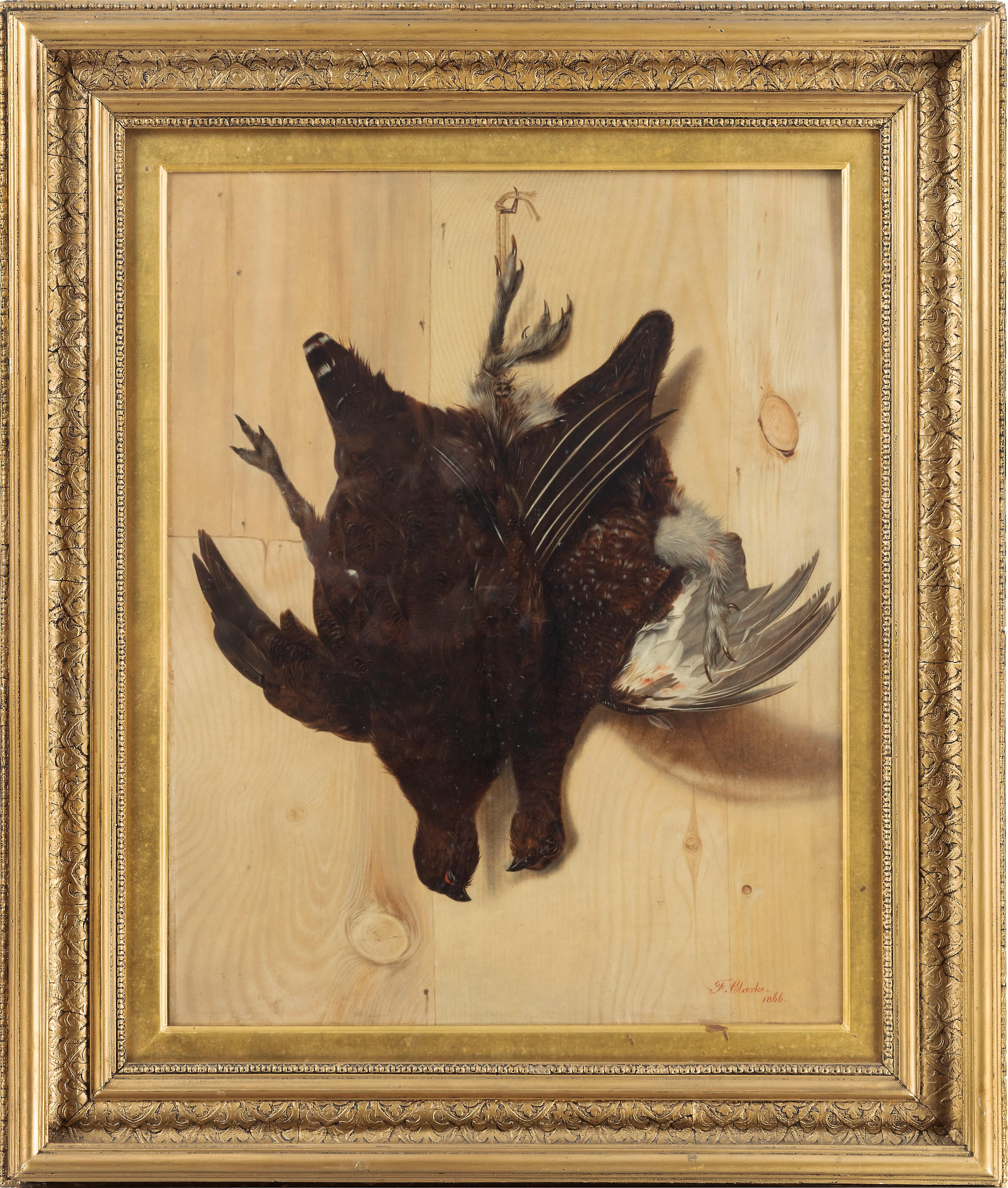 A hunting trompe l'oeil still life of a brace of grouse