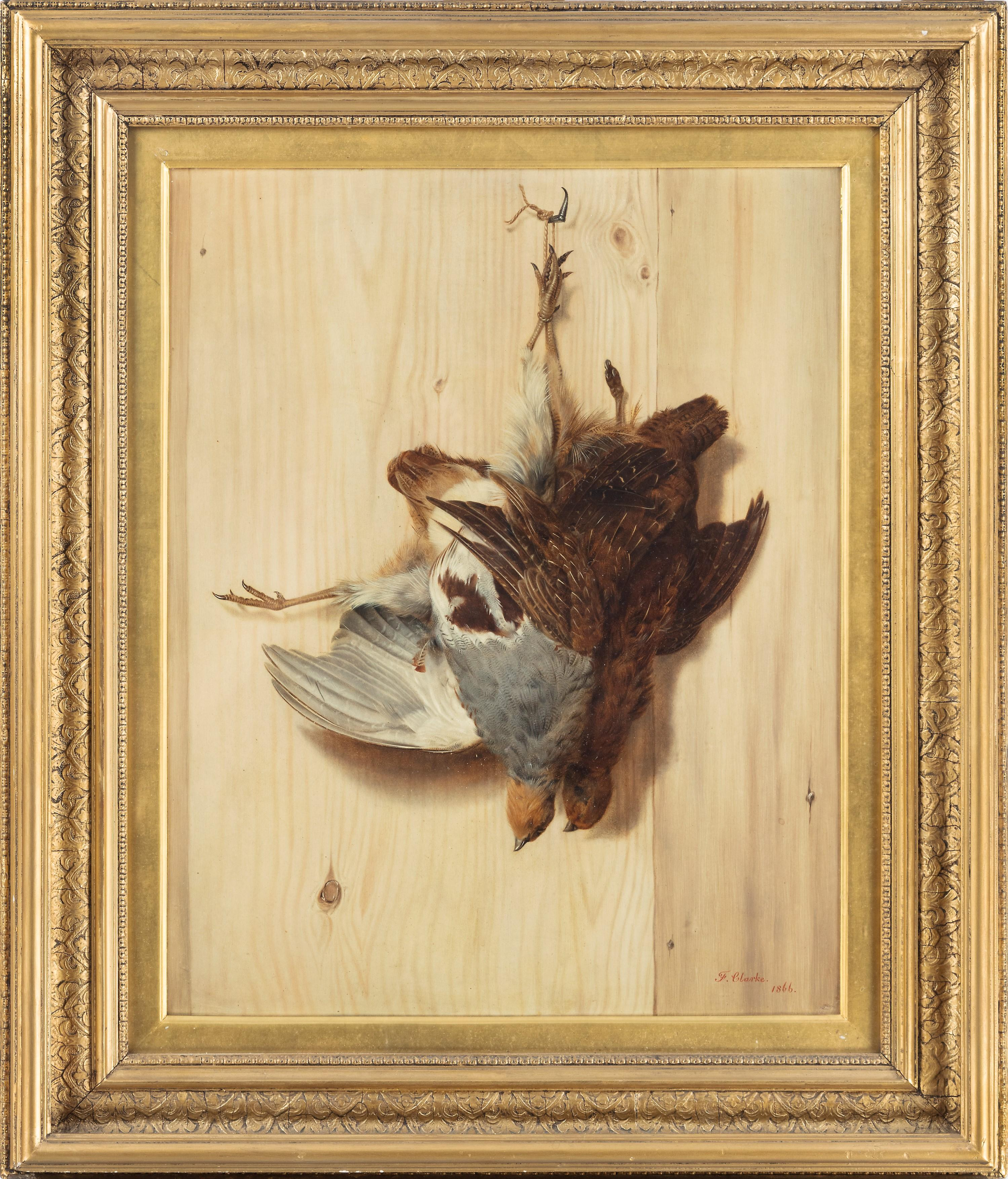 A hunting trompe l'oeil still life of a brace of partridge