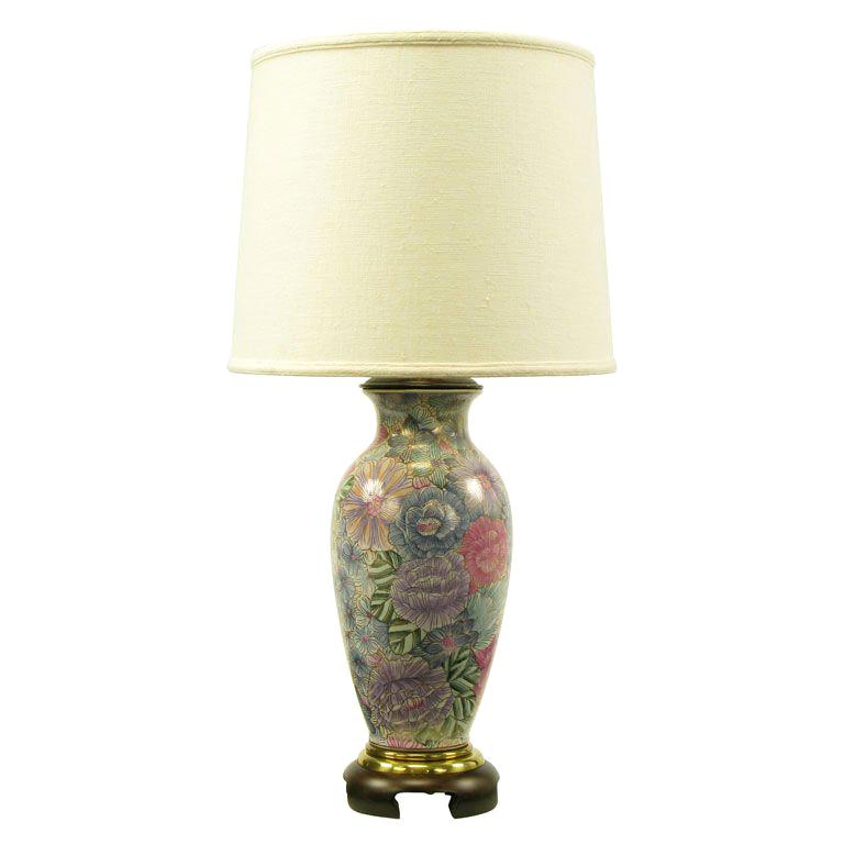 Frederick Cooper Hand Painted Gilt Porcelain Vase Table Lamp