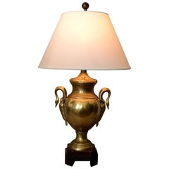 Frederick Cooper Hollywood Regency Heavy Brass Swan Details and Wood Table Lamp