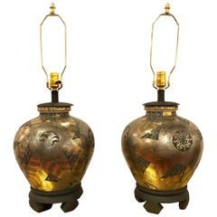 Frederick Cooper Pair of Table Lamps in Ginger Jar Form