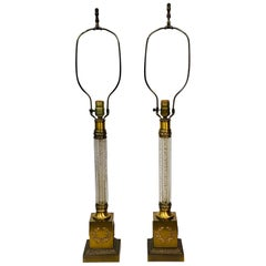 Frederick Cooper Style Roman Column & Wreath Brass Lamps, Pair