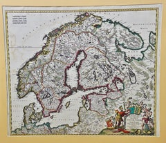 A Hand Colored 17th Century Map of Scandinavia by Frederick de Wit