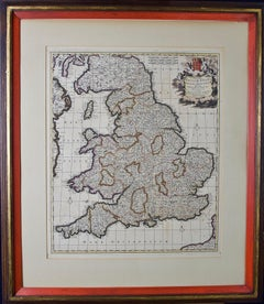 Large 17th Century Hand-colored Map of England and the British Isles by de Wit