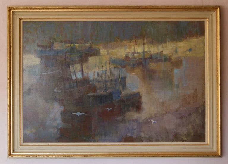 Morning Light Seascape - Mid 20th Century Oil of Boats England by Donald Blake - Painting by Frederick Donald Blake