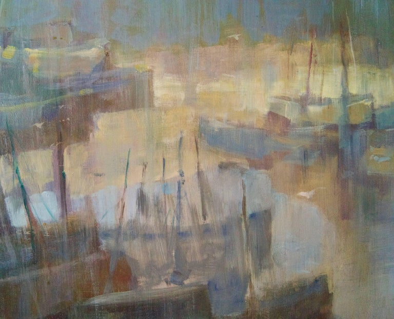 Morning Light Seascape - Mid 20th Century Oil of Boats England by Donald Blake  Frederick Donald Blake Born in Greenock, Scotland in 1908 and died in 1997. Blake's family moved to London when he was a child and he remained in the South for the rest