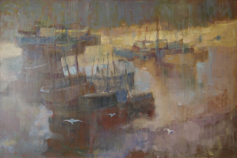 Frederick Donald Blake Figurative Painting - Morning Light Seascape - Mid 20th Century Oil of Boats England by Donald Blake