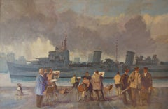 Wapping Group of Artists by the Thames - Mid 20th Century Oil by Donald Blake