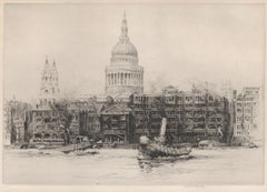 St Paul's Cathedral, Thames, London, etching by Frederick Farrell, circa 1920