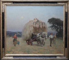 The Close of Day - British 20s Art Deco exhibited oil painting harvest landscape